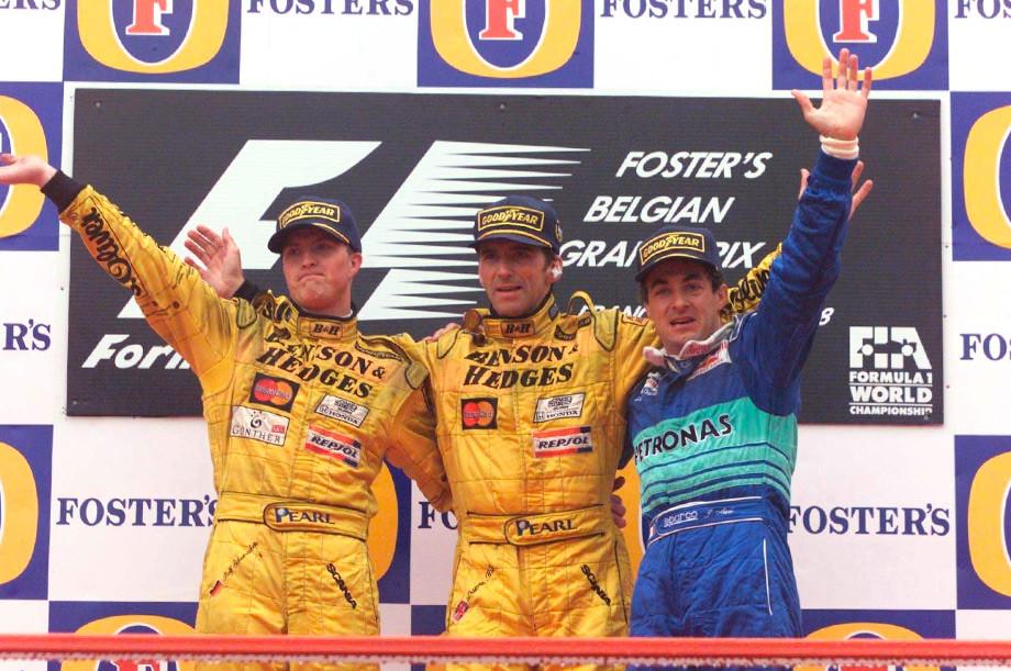 Ральф Шумахер, Деймон Хилл и Жан Алези на подиуме Гран-при Бельгии-1998