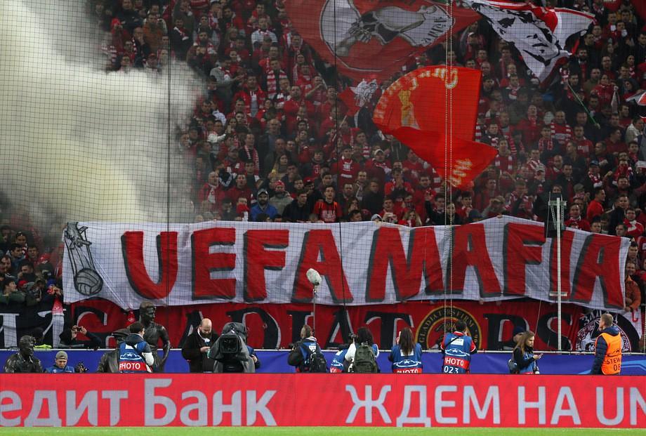 «Спартак» могут наказать задымовые шашки ибаннер «УЕФА— мафия»
