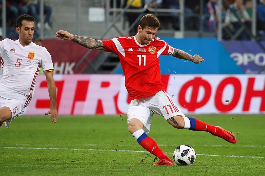 Фёдор Смолов в матче с Испанией