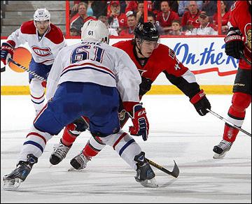 "5 мая 2013 года. Оттава. Плей-офф НХЛ. 1/8 финала. Матч № 3. ""Оттава"" — ""Монреаль"" — 6:1. Атакует Жан-Габриэль Пажо"