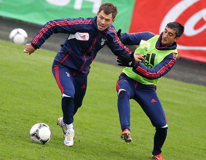 Динияр Билялетдинов и Александр Самедов на тренировке сборной России