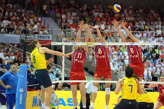 Волейбол. Мужчины. Мировая лига. Россия — Бразилия — 3:2