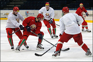 Первая тренировка сборной Белоруссии