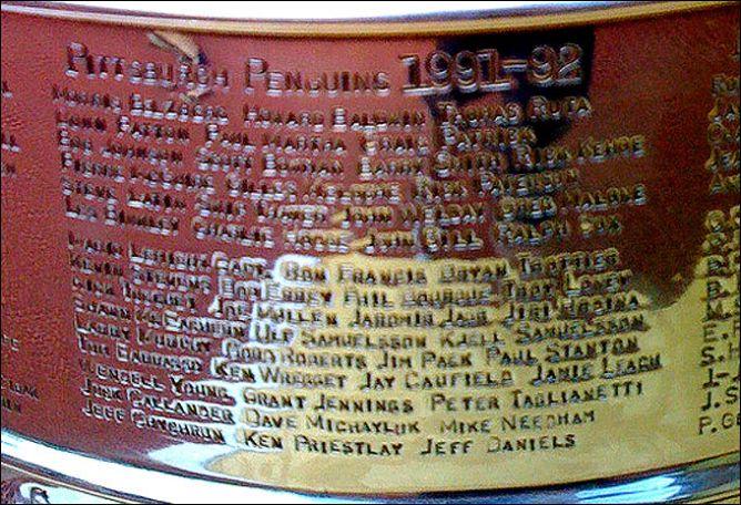 Гравировка на Кубке Стэнли 1992 года.