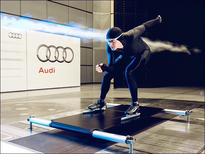 Иван Скобрев во время испытаний в аэродинамической трубе автомобильного концерна AUDI
