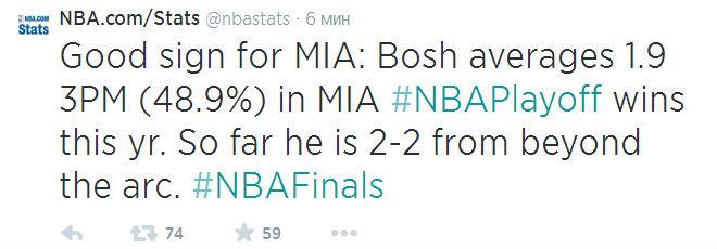 Тот факт, что Крис Бош реализовал два трёхчоковых по мнению ESPN свидетельствует о том, что у «Майами» всё хорошо.