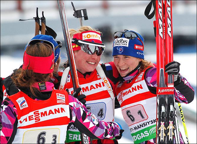 Новая тройка лидеров мирового биатлона. Место сборной России заняла сборная Франции.
