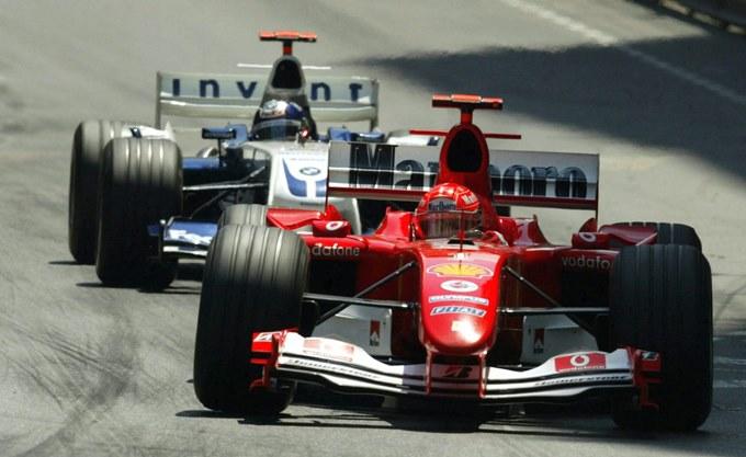 Михаэль Шумахер и Хуан-Пабло Монтойя на Гран-при Монако