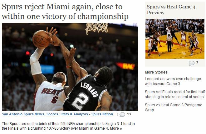 Spurs Nation: «Спёрс» вновь остановили «Хит» и застыли в одной победе от титула»