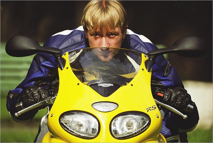 Евгений Плющенко на своём мотоцикле