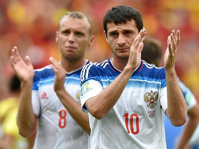 Бельгия — Россия — 1:0. Печальные лица Дениса Глушакова и Алана Дзагоева