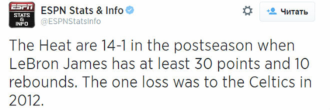 «Майами» выиграл 14 из 15 игр в плей-офф, когда Джеймс оформлял дабл-дабл из 30 и более очков и 10 и более подборов.