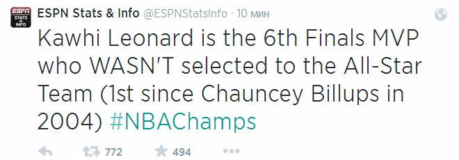 Кавай Леонард стал шестым MVP в истории, не участвовавшим в Матче всех звёзд. Первым после Чонси Биллапса в 2004-м.