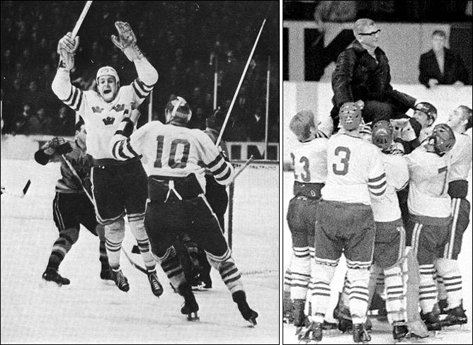 Чемпионат мира-1961. Стернер забивает победный гол в ворота канадцев, и сборная Швеции качает своего тренера – Арне Стремберга
