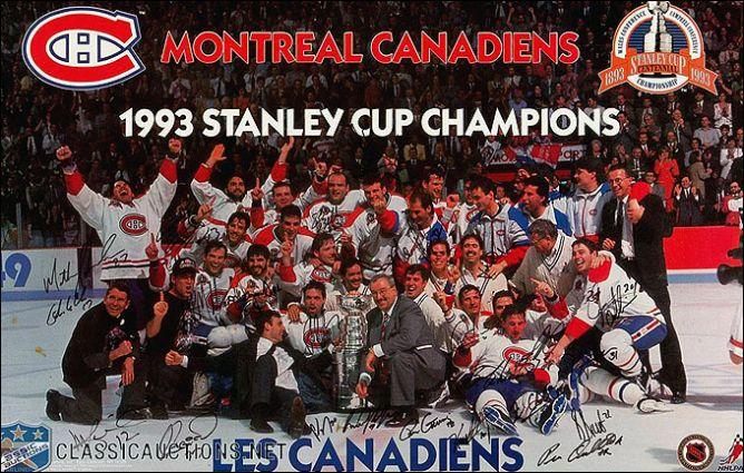 """Обладатели Кубка Стэнли 1993 года — """"Монреаль Канадиенс""""."""