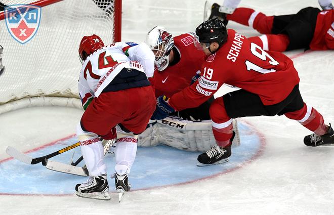 Игровой момент матча Швейцария — Белоруссия
