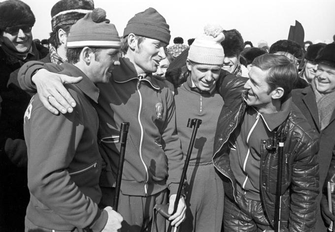 1974 год. Победители в эстафетной гонке 4х7,5 км ЧМ советские биатлонисты: Николай Круглов, Юрий Колмаков, Александр Ушаков и Александр Тихонов