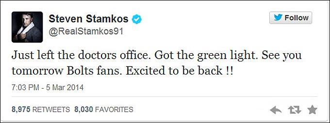 """Стэмкос в своём твиттере сообщает фанатам, что сыграет против """"Баффало"""""""