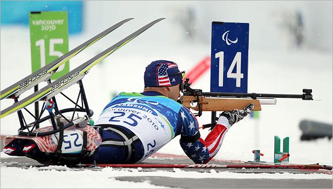 Так выглядит стрельба в паралимпийском биатлоне