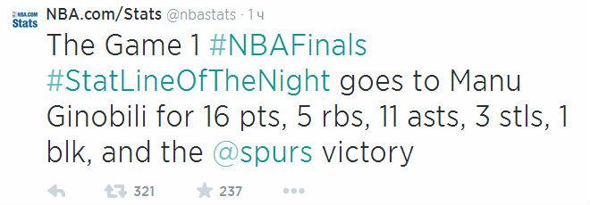По мнению официального сайта НБА лучшая статистическая линия вечера у Ману Жинобили: 16 очков, 11 передач, 5 подборов, 3 перехвата и блок-шот.