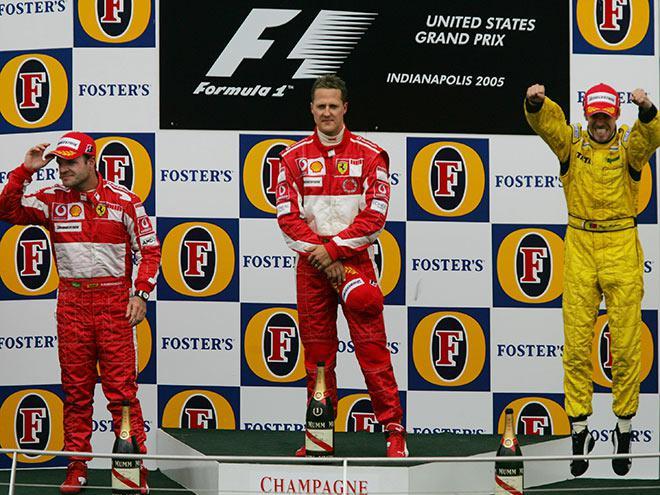 Подиум Гран-при США-2005: М. Шумахер, Баррикелло, Монтейру