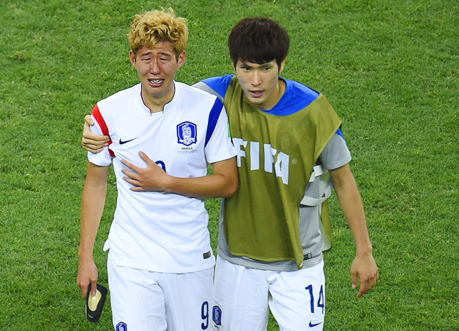 Эмоции футболиста сборной Южной Кореи