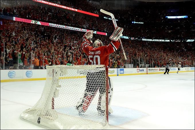 "23 июня 2013 года. Чикаго. Плей-офф НХЛ. Финал. Матч № 5. ""Чикаго"" — ""Бостон"" — 3:1. Кори Кроуфорд"
