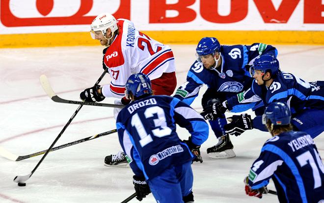 Стаффан Кронвалль в матче против минского «Динамо» на Кубке Латвийской железной дороги