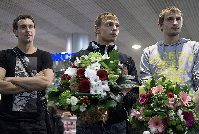 Андрей Моисеев, Илья Фролов и Александр Лесун. Жаль, что на Олимпиаду едут только двое