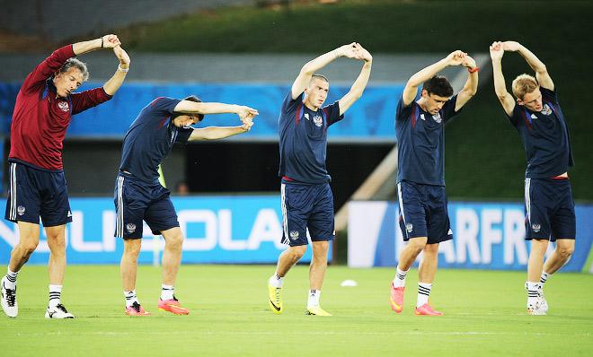 Тренировка сборной России накануне матча с Южной Кореей