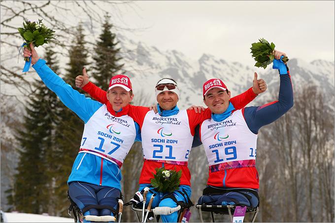 Александр Давидович, Роман Петушков и Ирек Зарипов – полностью российский подиум в лыжных гонках сидя на дистанции 15 километров
