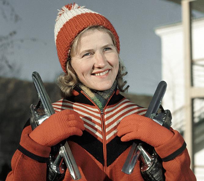 Чемпионка мира по конькобежному спорту Лидия Скобликова. 1968 год