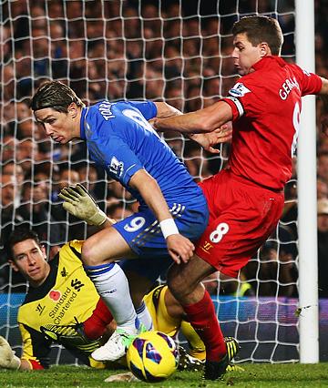 """11 ноября 2012 года. """"Челси"""" — """"Ливерпуль"""" — 1:1. Стивен Джеррард против Фернандо Торреса"""