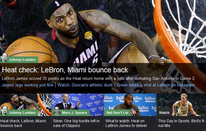 YahooSports!: «Тепловая трещина/Трещина «Хит»: Леброн и «Майами» оправились от удара»