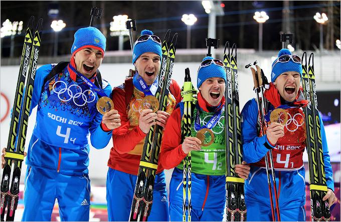 Победа мужской сборной России по биатлону