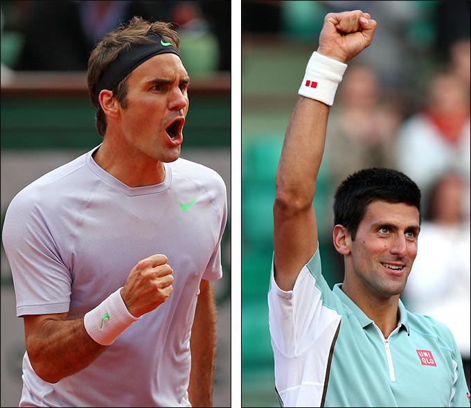Новак Джокович и Роджер Федерер выиграли юбилейные матчи