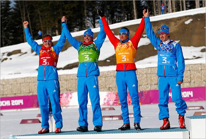Лыжная сборная России — вторая в эстафете