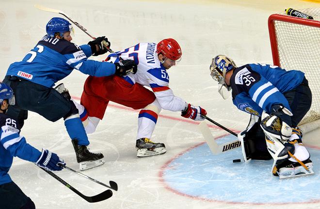 Фрагмент матча Россия — Финляндия