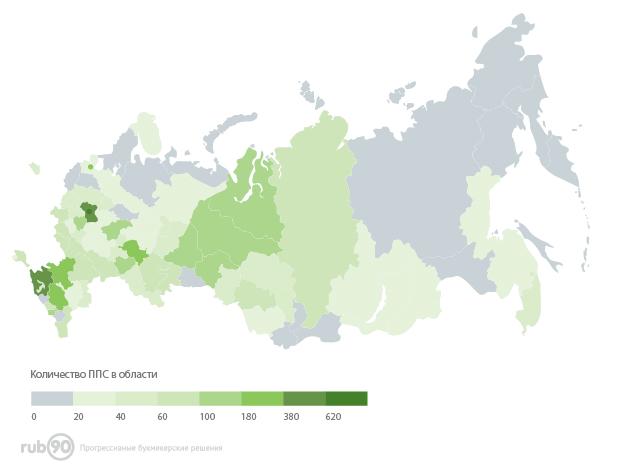 Тепловая карта букмекерского бизнеса по регионам России