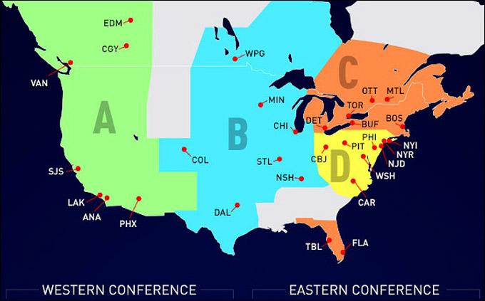 Новая карта НХЛ. Действительна со следующего сезона