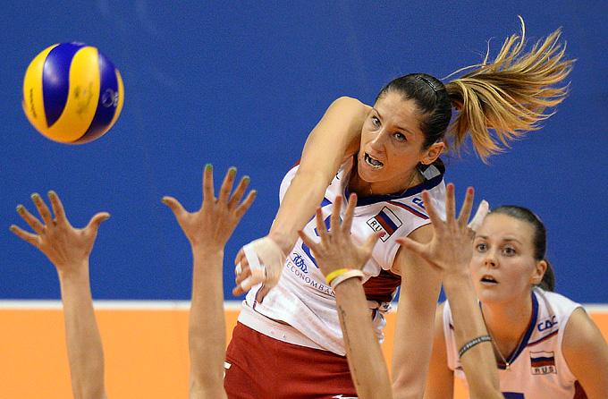 Волейбол. Женщины. Чемпионат Европы. Финал. Россия – Германия — 3:1. Атака Татьяны Кошелевой