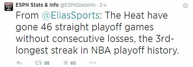 «Майами» не проигрывал дважды кряду в нокаут-раунде на протяжении 46 встреч. Это третья по длительности серия в истории.