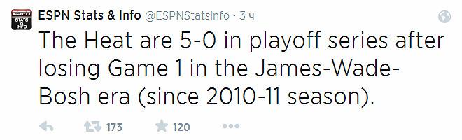 «Майами» выиграл во всех встречах №2 плей-офф (5-0) со времён образования «Большого трио», после поражений в стартовых.