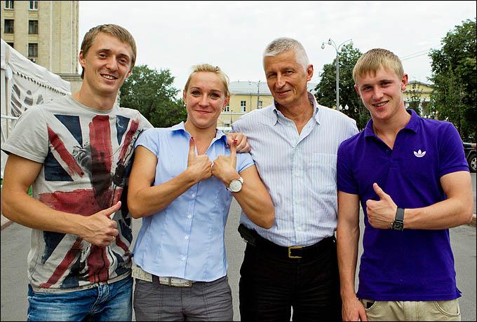 Все в сборе. Ушаков, Воронина, Федоренко и главный тренер сборной Николай Макаров
