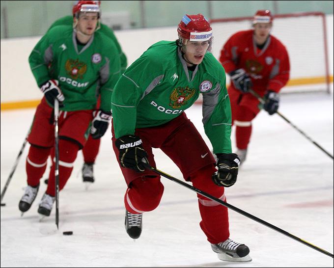Евгений Малкин на тренировке сборной России