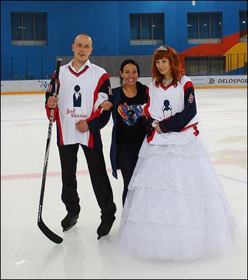 Мария Ларионова и хоккейная свадьба на льду