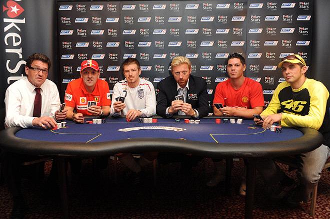 За покерным столом собрались двойники Фабио Капелло, Михаэля Шумахера, Дэвида Бэкхема, Криштиану Роналду и Валентино Росси