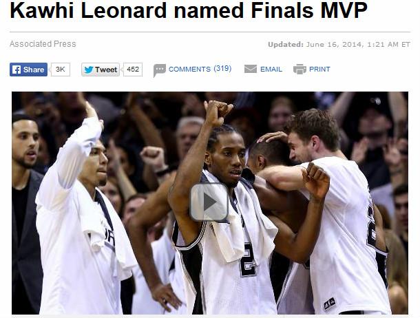 ESPN: «Кавай Леонард признан MVP»