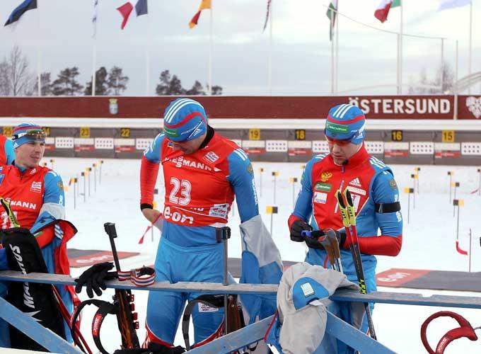 Россияне перед стартом гонки преследования