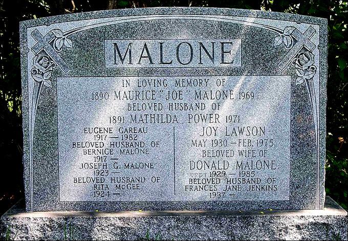 Могила Джо Мэлоуна на кладбище Святого Лорена в Монреале